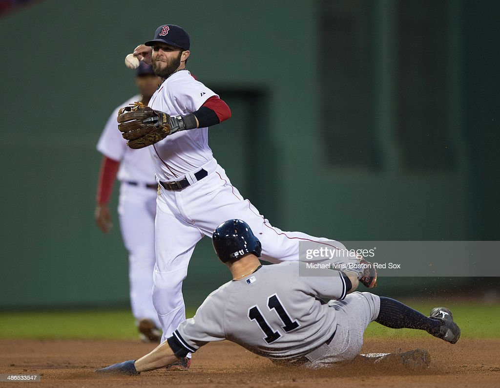 <a gi-track='captionPersonalityLinkClicked' href=/galleries/search?phrase=Dustin+Pedroia&family=editorial&specificpeople=836339 ng-click='$event.stopPropagation()'>Dustin Pedroia</a> #15 of the Boston Red Sox mishandles the ball while attempting to finish a double play against <a gi-track='captionPersonalityLinkClicked' href=/galleries/search?phrase=Brett+Gardner&family=editorial&specificpeople=4172518 ng-click='$event.stopPropagation()'>Brett Gardner</a> #11 of the New York Yankees in the second inning at Fenway Park on April 24, 2014 in Boston, Massachusetts. Pedroia was given an error on the play and Gardner was ruled safe at second base.