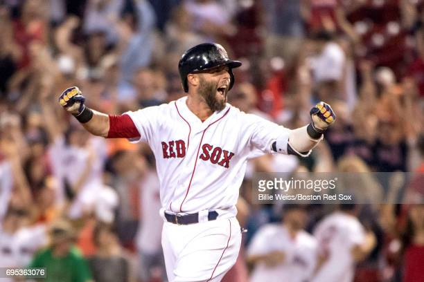 Dustin Pedroia of the Boston Red Sox reacts after hitting a walkoff single during the eleventh inning of a game against the Philadelphia Phillies on...