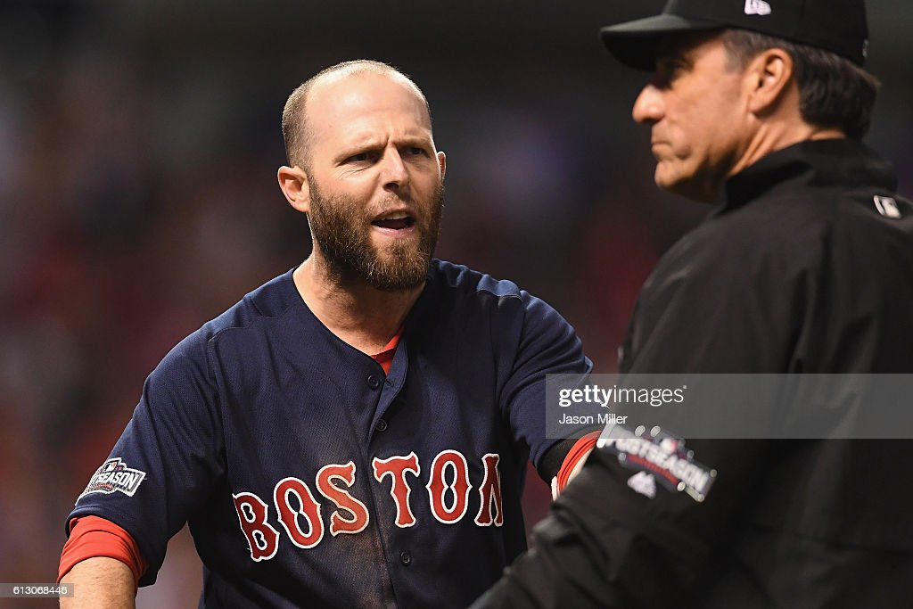 Dustin Pedroia #15 of the Boston Red Sox reacts after striking out to end game one of the American League Divison Series against the Cleveland Indians at Progressive Field on October 6, 2016 in Cleveland, Ohio. The Cleveland Indians defeated the Boston Red Sox 5-4.