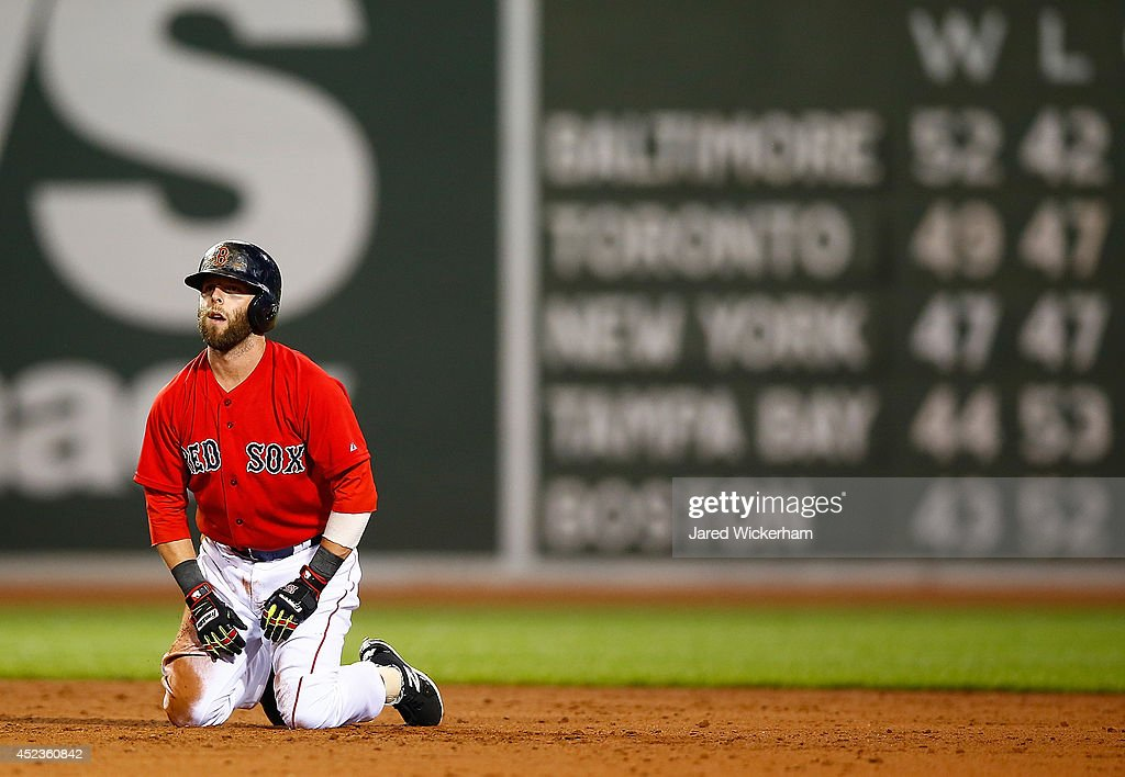 <a gi-track='captionPersonalityLinkClicked' href=/galleries/search?phrase=Dustin+Pedroia&family=editorial&specificpeople=836339 ng-click='$event.stopPropagation()'>Dustin Pedroia</a> #15 of the Boston Red Sox reacts following a double play in the fifth inning against the Kansas City Royals during the game at Fenway Park on July 18, 2014 in Boston, Massachusetts.