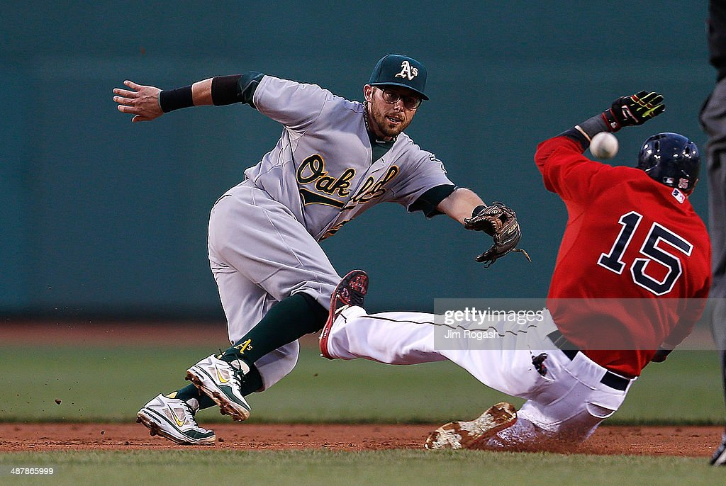 <a gi-track='captionPersonalityLinkClicked' href=/galleries/search?phrase=Dustin+Pedroia&family=editorial&specificpeople=836339 ng-click='$event.stopPropagation()'>Dustin Pedroia</a> #15 of the Boston Red Sox slides in to second as <a gi-track='captionPersonalityLinkClicked' href=/galleries/search?phrase=Eric+Sogard&family=editorial&specificpeople=6796459 ng-click='$event.stopPropagation()'>Eric Sogard</a> #28 of the Oakland Athletics fields an errant throw in the first inning at Fenway Park on May 2, 2014 in Boston, Massachusetts.