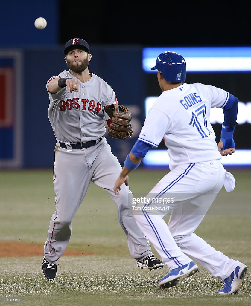 <a gi-track='captionPersonalityLinkClicked' href=/galleries/search?phrase=Dustin+Pedroia&family=editorial&specificpeople=836339 ng-click='$event.stopPropagation()'>Dustin Pedroia</a> #15 of the Boston Red Sox starts a double play in the eighth inning during MLB game action as <a gi-track='captionPersonalityLinkClicked' href=/galleries/search?phrase=Ryan+Goins&family=editorial&specificpeople=9004043 ng-click='$event.stopPropagation()'>Ryan Goins</a> #17 of the Toronto Blue Jays is caught in a run-dwon on July 23, 2014 at Rogers Centre in Toronto, Ontario, Canada.