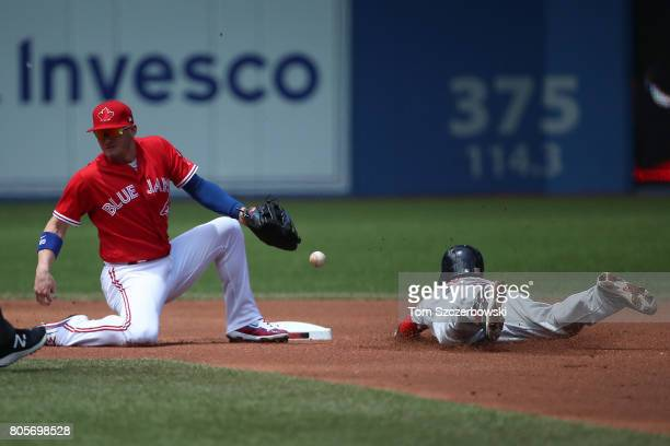 Dustin Pedroia of the Boston Red Sox steals second base in the first inning during MLB game action as Josh Donaldson of the Toronto Blue Jays cannot...
