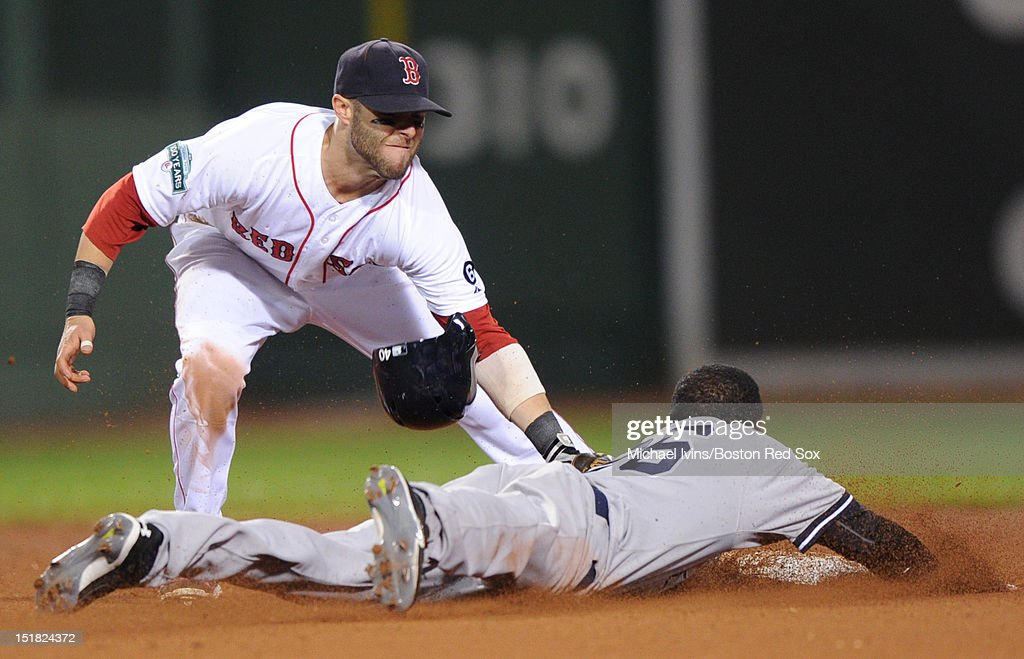 <a gi-track='captionPersonalityLinkClicked' href=/galleries/search?phrase=Dustin+Pedroia&family=editorial&specificpeople=836339 ng-click='$event.stopPropagation()'>Dustin Pedroia</a> #15 of the Boston Red Sox tags out Edwardo Nunez #26 of the New York Yankees on a stolen base attempt in the ninth inning on September 11, 2012 at Fenway Park in Boston, Massachusetts.