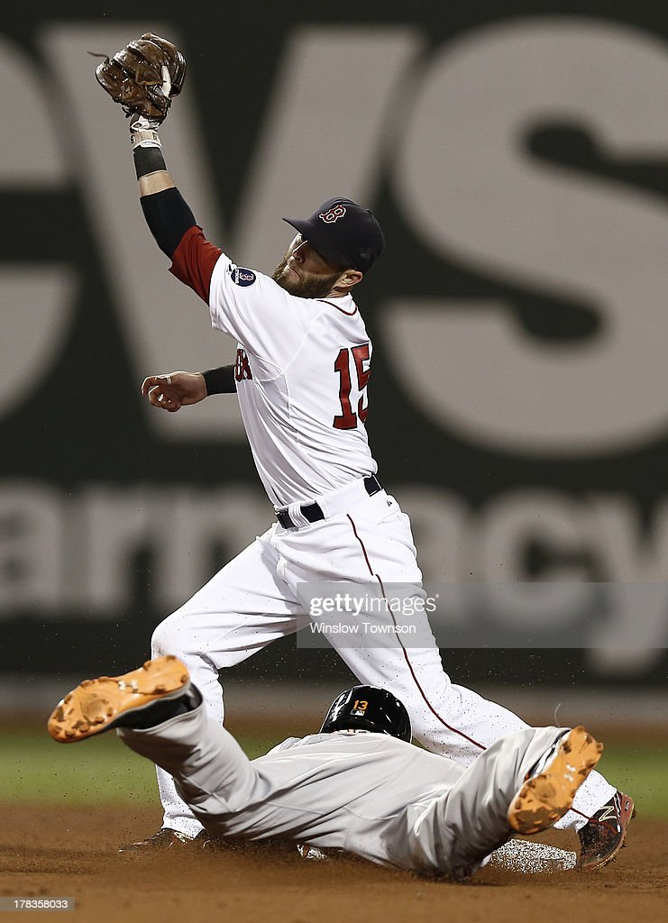 <a gi-track='captionPersonalityLinkClicked' href=/galleries/search?phrase=Dustin+Pedroia&family=editorial&specificpeople=836339 ng-click='$event.stopPropagation()'>Dustin Pedroia</a> #15 of the Boston Red Sox takes a high throw as <a gi-track='captionPersonalityLinkClicked' href=/galleries/search?phrase=Manny+Machado&family=editorial&specificpeople=5591039 ng-click='$event.stopPropagation()'>Manny Machado</a> #13 of the Baltimore Orioles advances safely to second on a wild pitch during the seventh inning of the game at Fenway Park on August 29, 2013 in Boston, Massachusetts.