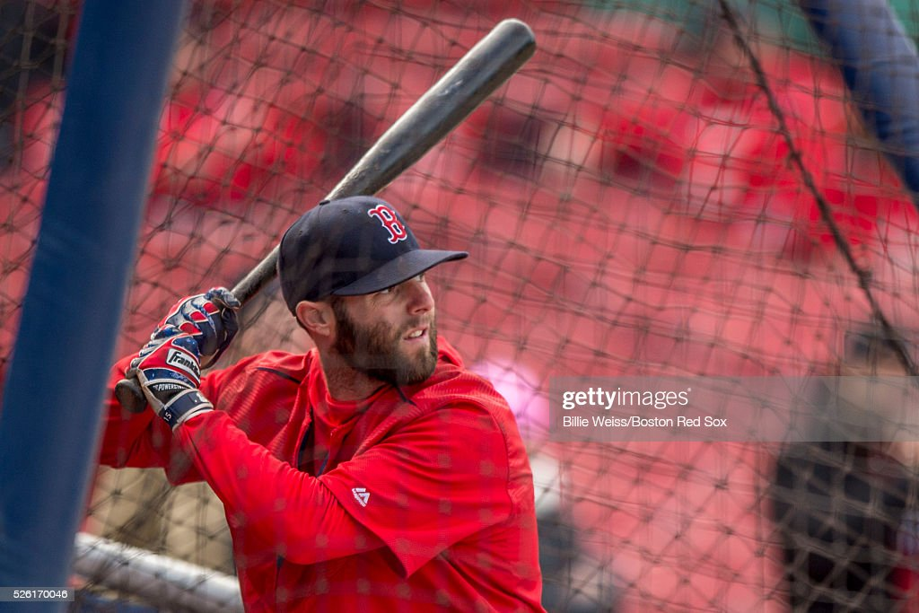 Dustin Pedroia #15 of the Boston Red Sox takes batting practice before a game against the New York Yankees on April 29, 2016 at Fenway Park in Boston, Massachusetts .