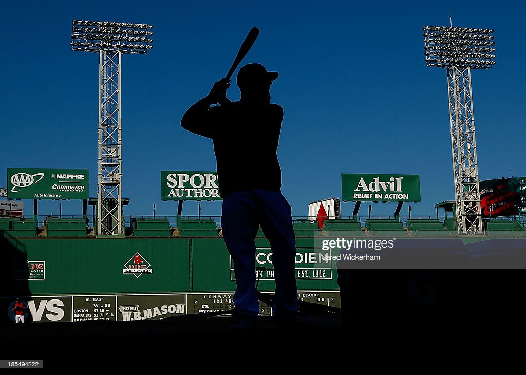 <a gi-track='captionPersonalityLinkClicked' href=/galleries/search?phrase=Dustin+Pedroia&family=editorial&specificpeople=836339 ng-click='$event.stopPropagation()'>Dustin Pedroia</a> #15 of the Boston Red Sox takes batting practice during the workout prior to the start of the World Series on October 21, 2013 at Fenway Park in Boston, Massachusetts.