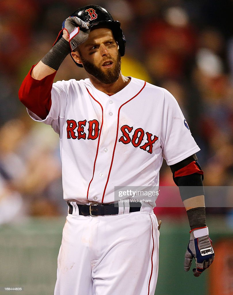 <a gi-track='captionPersonalityLinkClicked' href=/galleries/search?phrase=Dustin+Pedroia&family=editorial&specificpeople=836339 ng-click='$event.stopPropagation()'>Dustin Pedroia</a> #15 of the Boston Red Sox takes his helmet off after striking out looking against the Minnesota Twins in the ninth inning during the game on May 9, 2013 at Fenway Park in Boston, Massachusetts.