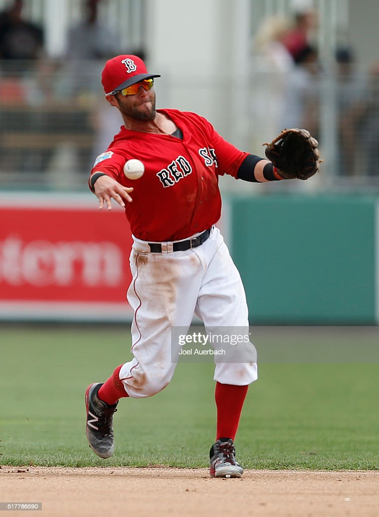 Dustin Pedroia #15 of the Boston Red Sox throws out Cedric Hunter #64 of the Philadelphia Phillies during the top of the fourth inning of a spring training game at JetBlue Park on March 27, 2016 in Fort Myers, Florida. The Red Sox defeated the Phillies 5-1.