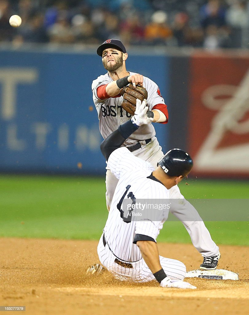 <a gi-track='captionPersonalityLinkClicked' href=/galleries/search?phrase=Dustin+Pedroia&family=editorial&specificpeople=836339 ng-click='$event.stopPropagation()'>Dustin Pedroia</a> #15 of the Boston Red Sox turns a double play against Alex Rodriguez #13 of the New York Yankees during their game on October 2, 2012 at Yankee Stadium in the Bronx borough of New York City