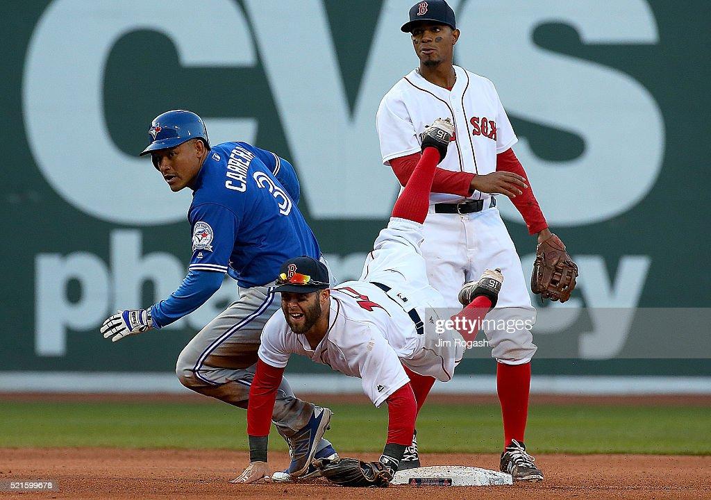 <a gi-track='captionPersonalityLinkClicked' href=/galleries/search?phrase=Dustin+Pedroia&family=editorial&specificpeople=836339 ng-click='$event.stopPropagation()'>Dustin Pedroia</a> #15 of the Boston Red Sox turns a double play as <a gi-track='captionPersonalityLinkClicked' href=/galleries/search?phrase=Ezequiel+Carrera&family=editorial&specificpeople=6778888 ng-click='$event.stopPropagation()'>Ezequiel Carrera</a> #3 of the Toronto Blue Jays reacts at second base in the eighth inning against he Toronto Blue Jays at Fenway Park on April 16, 2016 in Boston, Massachusetts.