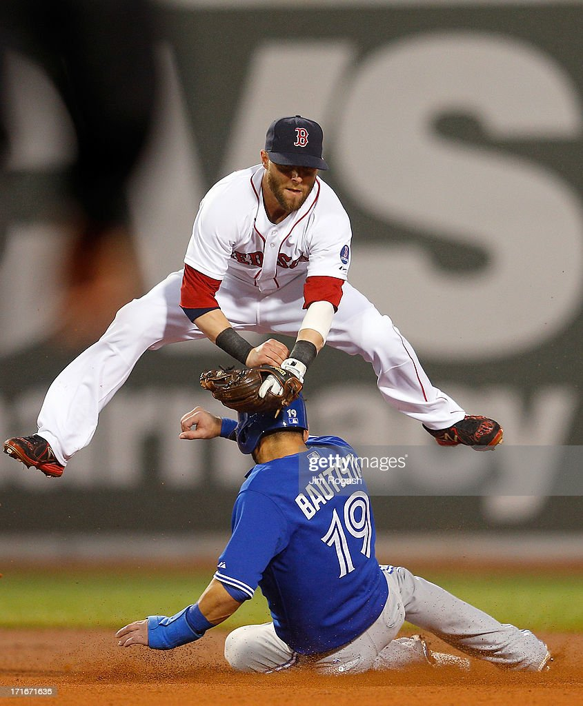 <a gi-track='captionPersonalityLinkClicked' href=/galleries/search?phrase=Dustin+Pedroia&family=editorial&specificpeople=836339 ng-click='$event.stopPropagation()'>Dustin Pedroia</a> #15 of the Boston Red Sox turns a double play as Jose Bautista #19 of the Toronto Blue Jays slides late in to second base in the 4th inning at Fenway Park on June 27, 2013 in Boston, Massachusetts.