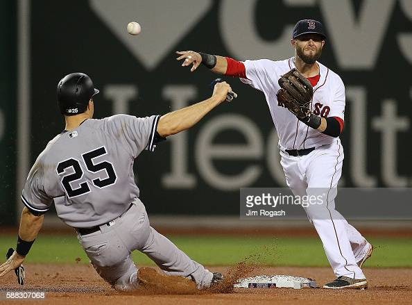 Dustin Pedroia of the Boston Red Sox turns a double play as Mark Teixeira of the New York Yankees slides late in to second base in the sixth inning...