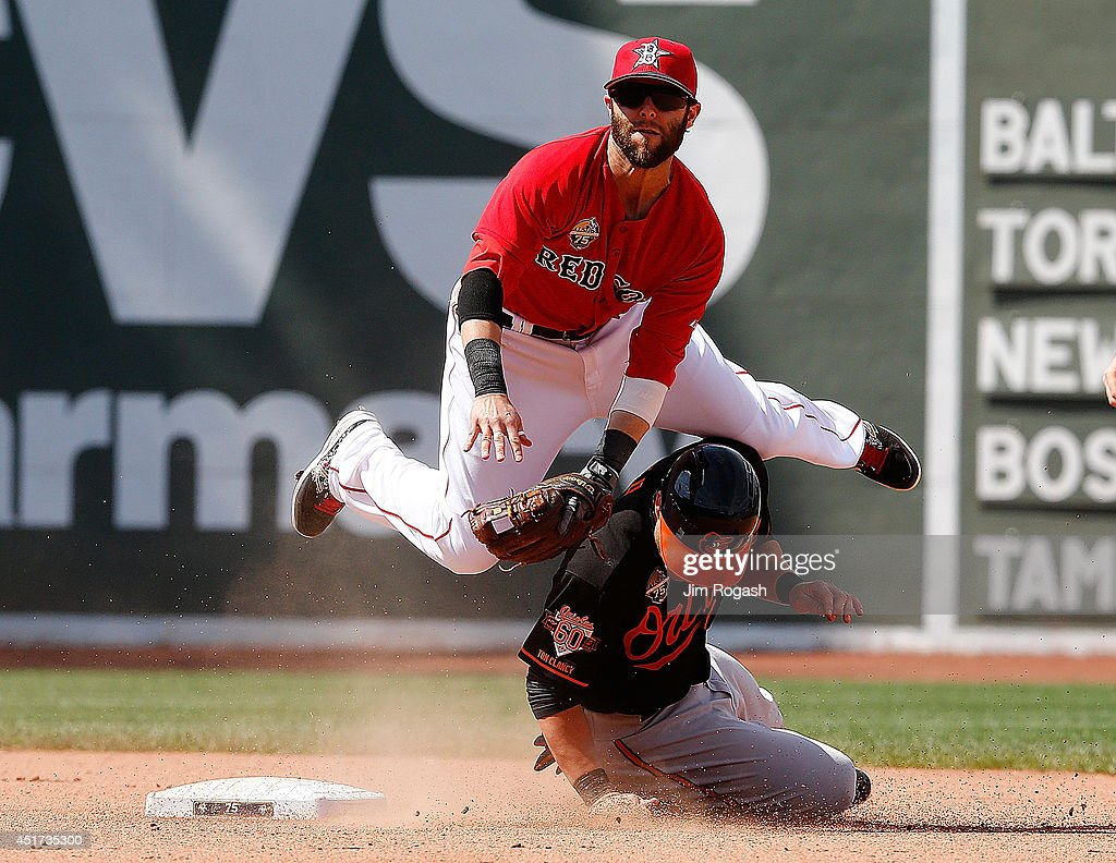 <a gi-track='captionPersonalityLinkClicked' href=/galleries/search?phrase=Dustin+Pedroia&family=editorial&specificpeople=836339 ng-click='$event.stopPropagation()'>Dustin Pedroia</a> #15 of the Boston Red Sox turns a double play as <a gi-track='captionPersonalityLinkClicked' href=/galleries/search?phrase=Steve+Pearce+-+Joueur+de+baseball&family=editorial&specificpeople=14621971 ng-click='$event.stopPropagation()'>Steve Pearce</a> #28 of the Baltimore Orioles slides into second base in the eighth inning during the first game of a doubleheader at Fenway Park on July 5, 2014 in Boston, Massachusetts.