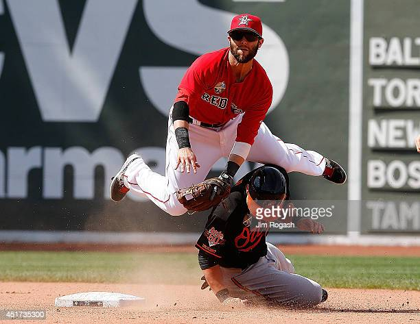 Dustin Pedroia of the Boston Red Sox turns a double play as Steve Pearce of the Baltimore Orioles slides into second base in the eighth inning during...