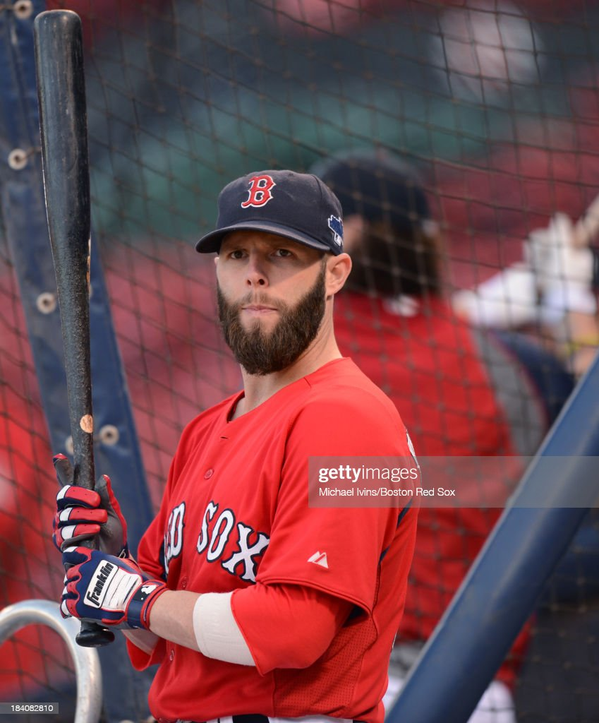 <a gi-track='captionPersonalityLinkClicked' href=/galleries/search?phrase=Dustin+Pedroia&family=editorial&specificpeople=836339 ng-click='$event.stopPropagation()'>Dustin Pedroia</a> #15 of the Boston Red Sox waits for his turn to take batting practice a day before the American League Championship Series against the Detroit Tigers on October 11, 2013 at Fenway Park in Boston, Masschusetts.