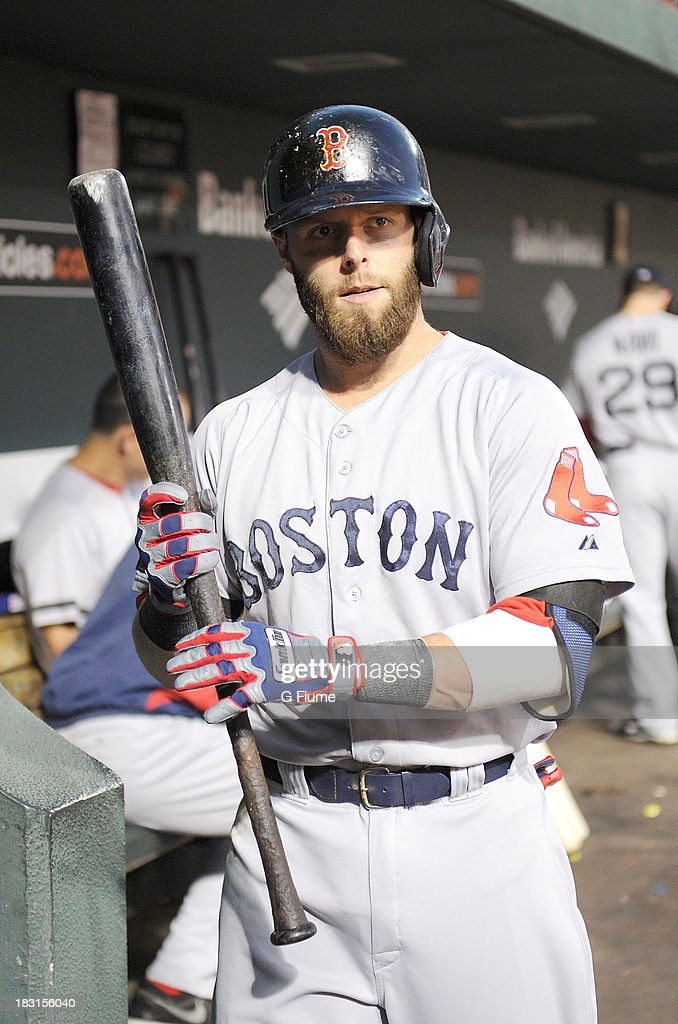Dustin Pedroia #15 of the Boston Red Sox walks in the dugout before the game against the Baltimore Orioles at Oriole Park at Camden Yards on September 27, 2013 in Baltimore, Maryland.