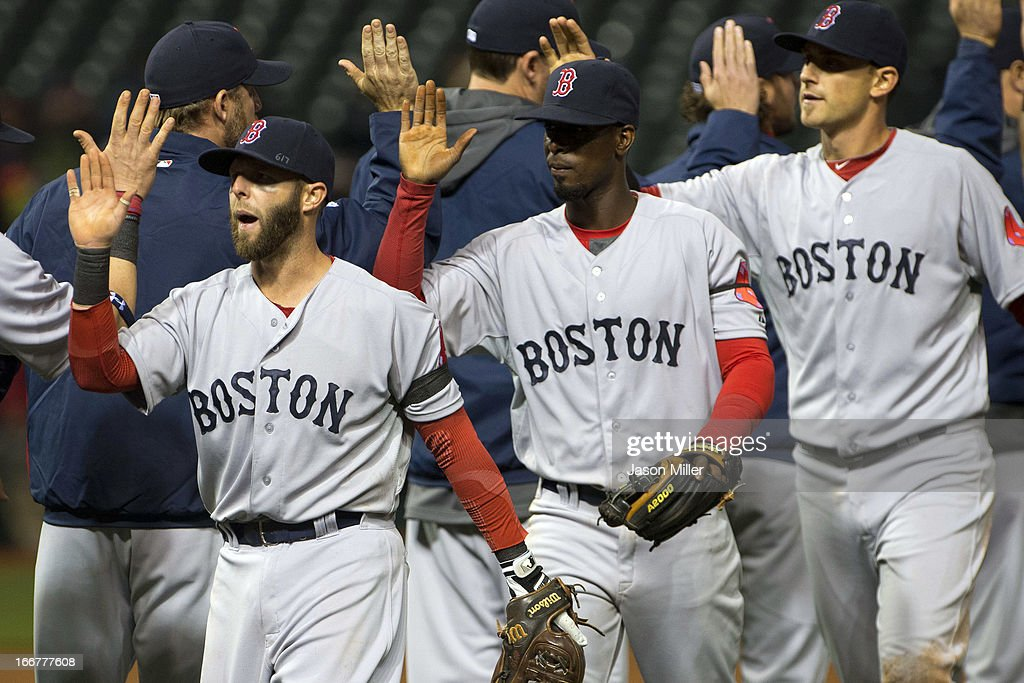 <a gi-track='captionPersonalityLinkClicked' href=/galleries/search?phrase=Dustin+Pedroia&family=editorial&specificpeople=836339 ng-click='$event.stopPropagation()'>Dustin Pedroia</a>, <a gi-track='captionPersonalityLinkClicked' href=/galleries/search?phrase=Pedro+Ciriaco&family=editorial&specificpeople=5718591 ng-click='$event.stopPropagation()'>Pedro Ciriaco</a> and <a gi-track='captionPersonalityLinkClicked' href=/galleries/search?phrase=Will+Middlebrooks&family=editorial&specificpeople=7934204 ng-click='$event.stopPropagation()'>Will Middlebrooks</a> of the Boston Red Sox celebrated after the Red Sox defeated the Cleveland Indians at Progressive Field on April 16, 2013 in Cleveland, Ohio. The Red Sox defeated the Indians 7-2. All uniformed team members are wearing jersey number 42 in honor of Jackie Robinson Day.