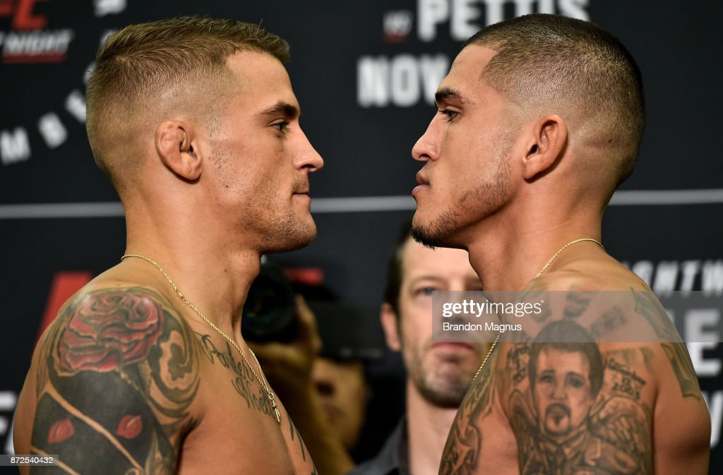 Dustin Poirier and Anthony Pettis face off during the UFC Fight Night Weigh-in on November 10, 2017 in Norfolk, Virginia.