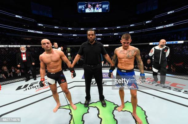 Dustin Poirier and Eddie Alvarez reacts to the result of their lightweight fight being announced as a no contest after an illegal knee from Eddie...