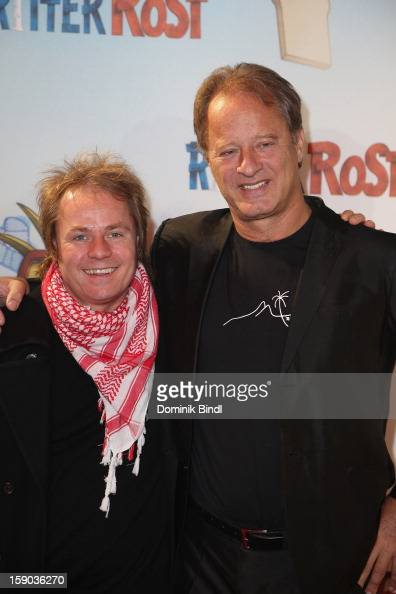 Dustin Semmelrogge and Tom Gerhardt attends the Ritter Rost Premiere on January 6 2013 in Munich Germany