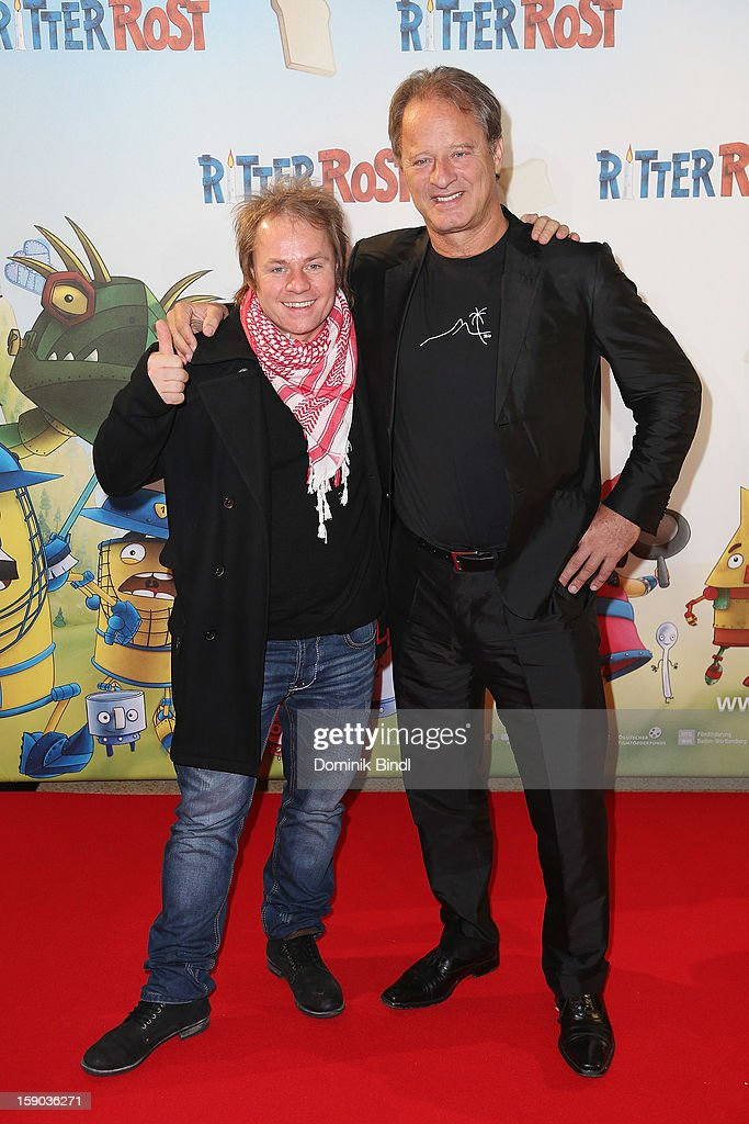 Dustin Semmelrogge and Tom Gerhardt attends the Ritter Rost Premiere on January 6, 2013 in Munich, Germany.