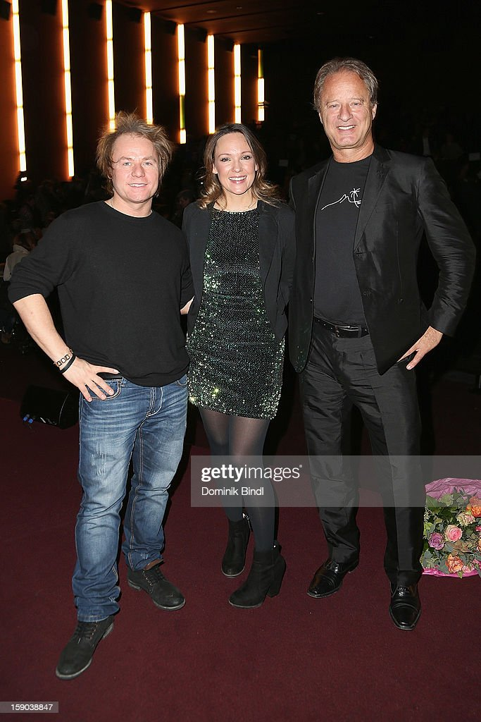 Dustin Semmelrogge, Carolin Kebekus and Tom Gerhardt attend the Ritter Rost Premiere on January 6, 2013 in Munich, Germany.