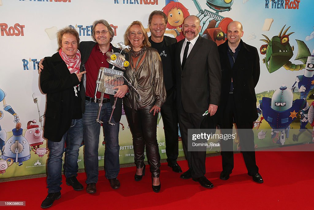 Dustin Semmelrogge, Jörg Hilbert, Gabriele Walther, Tom Gerhardt, cast member and Marcus Hamann attends the Ritter Rost Premiere on January 6, 2013 in Munich, Germany.