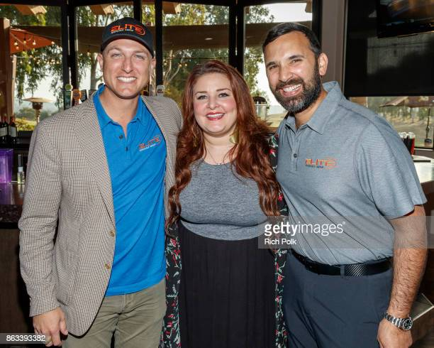 Dustin Tillman Jane Horton and Zeeshawn Zia pose for a photo at the Swing Fore The Vets Charity Golf Tournament on October 19 2017 in Rancho Santa...