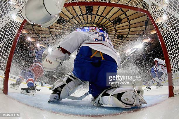 Dustin Tokarski of the Montreal Canadiens defends the net against the New York Rangers during Game Six of the Eastern Conference Final in the 2014...