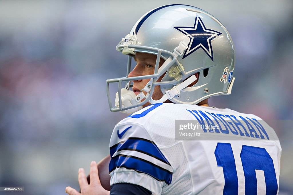38efbb99d ... Dustin Vaughan 10 of the Dallas Cowboys warms up before the game  against the Arizona Dustin Vaughan Baltimore Ravens ...