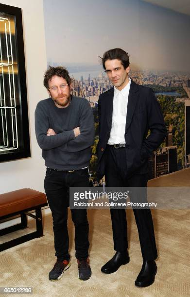 Dustin Yellin and Romain Dauriac attends the Singular Object Art Opening Cocktail Reception at 53W53 Gallery on April 5 2017 in New York City