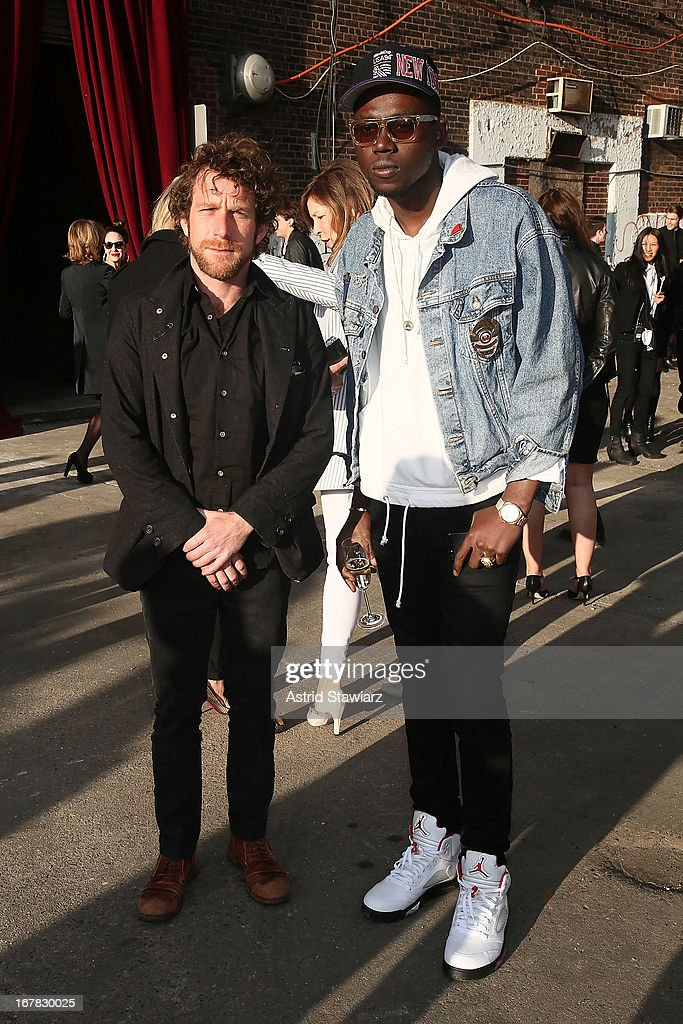Dustin Yellin and <a gi-track='captionPersonalityLinkClicked' href=/galleries/search?phrase=Theophilus+London&family=editorial&specificpeople=5770992 ng-click='$event.stopPropagation()'>Theophilus London</a> attend 2013 Creative Time Spring Gala at Domino Sugar Factory on April 30, 2013 in Brooklyn burough of New York City.
