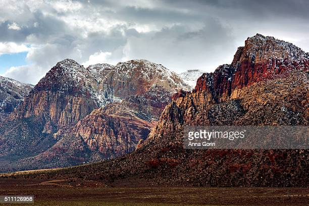 Dusting of snow on mountains at Red Rock Canyon outside Las Vegas, Nevada, in winter