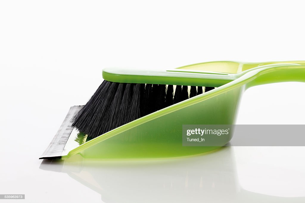 Dustpan and hand brush on white background : Stock Photo