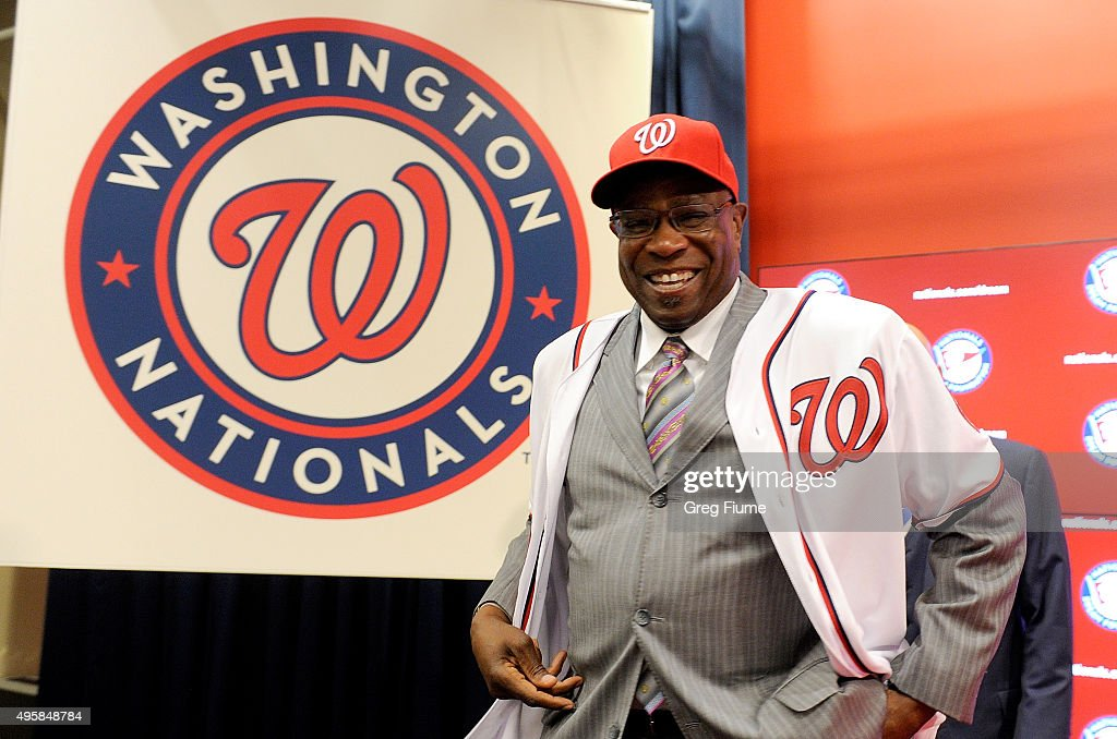 <a gi-track='captionPersonalityLinkClicked' href=/galleries/search?phrase=Dusty+Baker&family=editorial&specificpeople=202908 ng-click='$event.stopPropagation()'>Dusty Baker</a> is introduced as Manager of the Washington Nationals at Nationals Park on November 5, 2015 in Washington, DC.