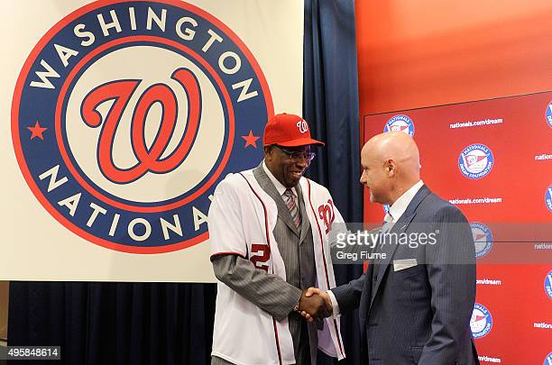 Dusty Baker is introduced as Manager of the Washington Nationals by General Manager Mike Rizzo at Nationals Park on November 5 2015 in Washington DC