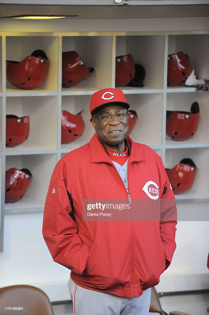 Dusty Baker #12 manager of the Cincinnati Reds looks on before a baseball game against the San Diego Padres at Petco Park on July 29, 2013 in San Diego, California.