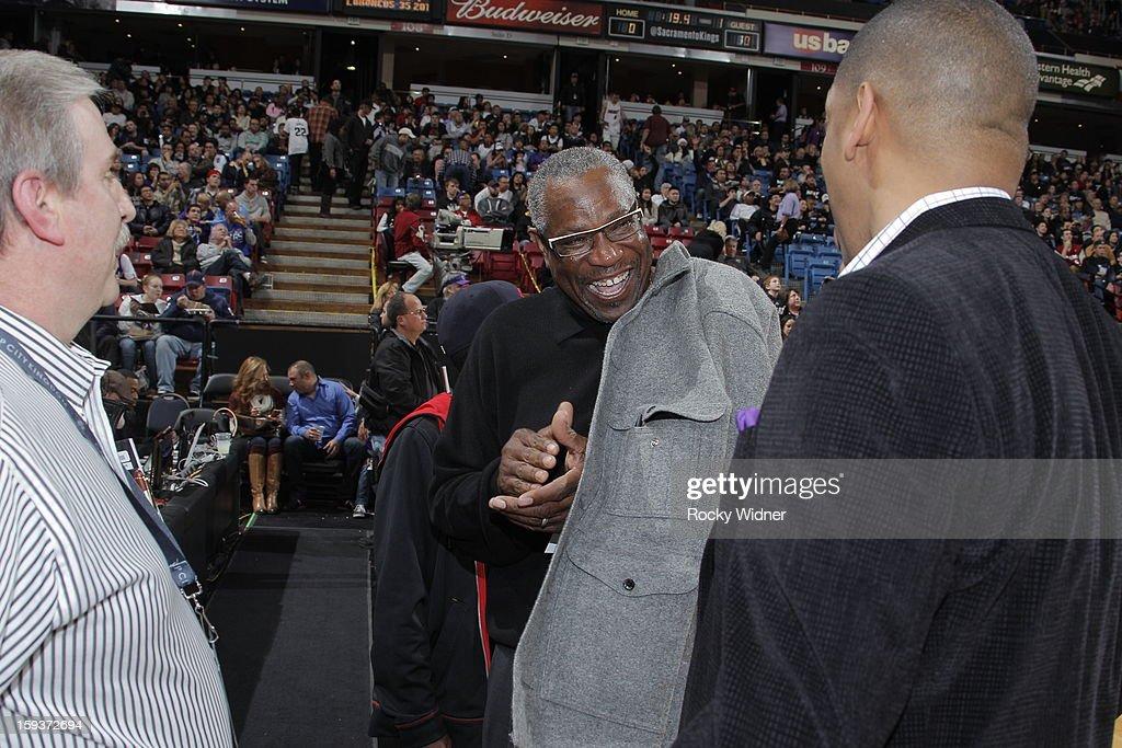 Dusty Baker meets with Sacramento Mayor Kevin Johnson before the Sacramento Kings take on the Miami Heat on January 12, 2013 at Sleep Train Arena in Sacramento, California.