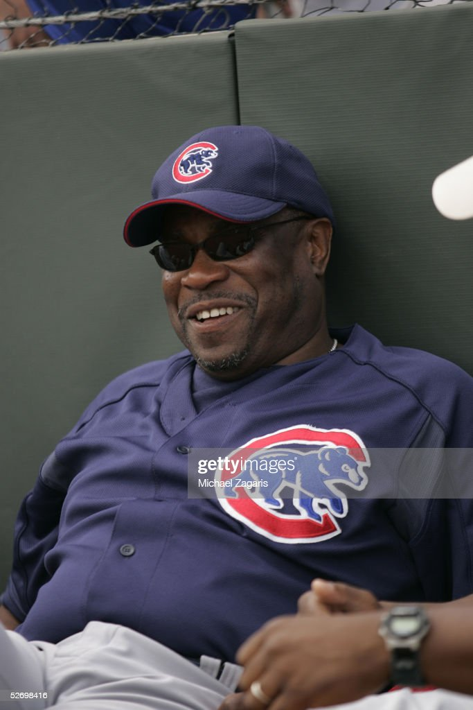 Dusty Baker of the Chicago Cubs during the MLB game against the Oakland Athletics at Phoenix Municipal Stadium on March 3, 2005 in Phoenix, Arizona. The Cubs defeated the A's 2-1.