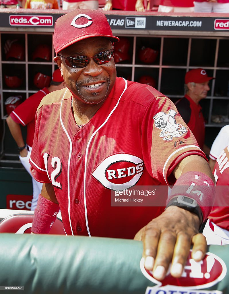 Dusty Baker #12 of the Cincinnati Reds seen before the game against the Los Angeles Dodgers at Great American Ball Park on September 7, 2013 in Cincinnati, Ohio.