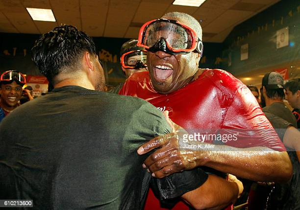Dusty Baker of the Washington Nationals celebrates after clinching the National League East Division Championship after defeating the Pittsburgh...