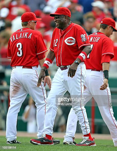 Dusty Baker the Manager of the Cincinnati Reds is all smiles after the 75 win over the Chicago Cubs at Great American Ball Park on August 29 2010 in...