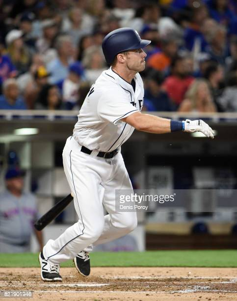 Dusty Coleman of the San Diego Padres flies out during the fifth inning of a baseball game against the New York Mets at PETCO Park on July 24 2017 in...
