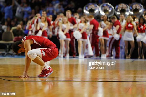 Dusty Hannahs of the Arkansas Razorbacks reacts after being defeated by the North Carolina Tar Heels 7265 in the second round of the 2017 NCAA Men's...