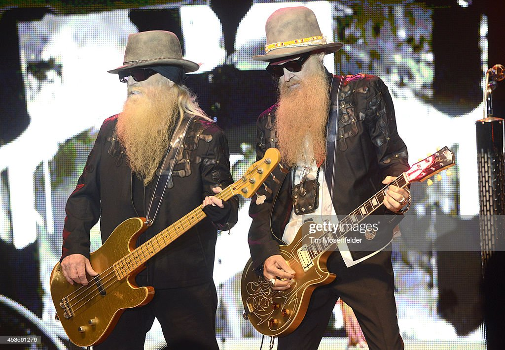 Dusty Hill (L) and Billy Gibbons of ZZ Top perform as part of the 'Beards N' Beck Tour 2014' at The Mountain Winery on August 12, 2014 in Saratoga, California.