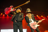 Dusty Hill and Billy Gibbons of ZZ Top perform at SSE Arena on June 24 2015 in London England