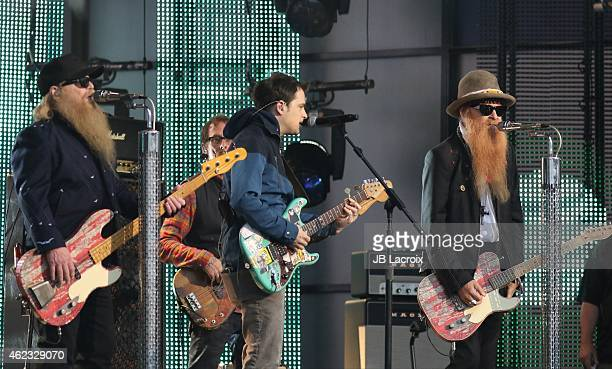 Dusty Hill and Billy Gibbons of ZZ Top perform during 'Jimmy Kimmel Live' on January 26 2015 in Los Angeles California