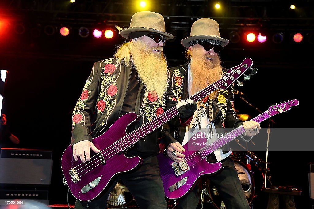Dusty Hill (L) and Billy Gibbons of ZZ Top perform during the 2013 Bonnaroo Music & Arts Festival on June 14, 2013 in Manchester, Tennessee.