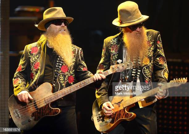 Dusty Hill and Billy Gibbons of ZZ Top perform live on stage at Allphones Arena on March 12 2013 in Sydney Australia